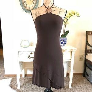 Brown halter asymmetrical dress